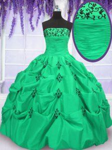 Pick Ups Ball Gowns 15th Birthday Dress Strapless Taffeta Sleeveless Floor Length Lace Up