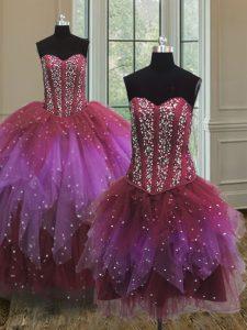 Three Piece Sweetheart Sleeveless 15th Birthday Dress Floor Length Beading Multi-color Tulle