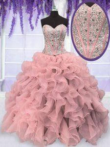 Stylish Pink Organza Lace Up Sweetheart Sleeveless Floor Length Sweet 16 Dresses Beading and Ruffles