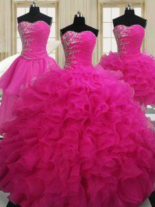Romantic Four Piece Hot Pink Ball Gowns Sweetheart Sleeveless Organza Floor Length Zipper Beading Sweet 16 Dress