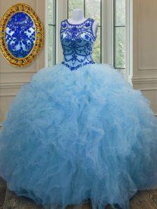 Fine Scoop Baby Blue Sleeveless Beading and Ruffles Floor Length Quinceanera Dress
