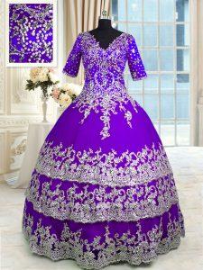 Eye-catching Ruffled V-neck Half Sleeves Zipper 15 Quinceanera Dress Purple Tulle