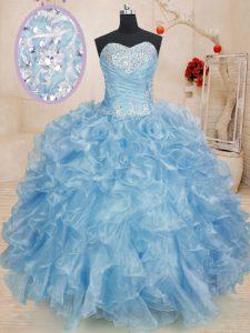 Fine Floor Length Blue Sweet 16 Dresses Sweetheart Sleeveless Lace Up