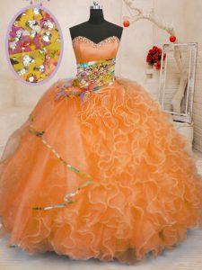 Beauteous Floor Length Orange Quinceanera Dress Sweetheart Sleeveless Lace Up