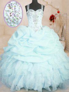 Pick Ups Floor Length Ball Gowns Sleeveless Light Blue 15th Birthday Dress Zipper