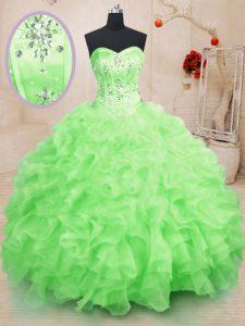 Sweetheart Sleeveless Ball Gown Prom Dress Floor Length Beading and Ruffles Organza