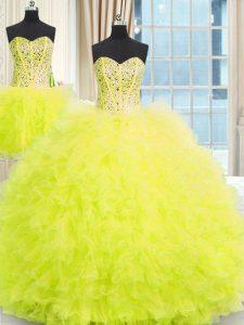 Gorgeous Three Piece Strapless Sleeveless 15th Birthday Dress Floor Length Beading and Ruffles Yellow Tulle