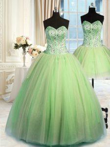Three Piece Sweetheart Sleeveless Tulle Sweet 16 Dresses Beading Lace Up