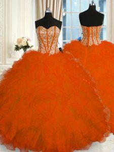 Red Lace Up Sweetheart Beading and Ruffles Sweet 16 Dress Organza Sleeveless