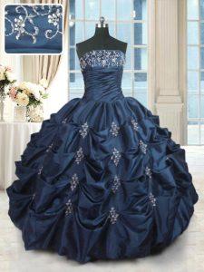 Floor Length Navy Blue Quinceanera Dress Taffeta Sleeveless Beading and Pick Ups