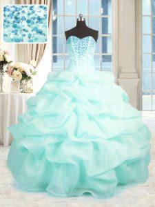 Glittering Floor Length Ball Gowns Sleeveless Aqua Blue Ball Gown Prom Dress Lace Up