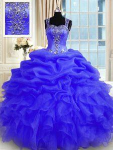 Ideal Purple Organza Zipper Straps Sleeveless Floor Length 15 Quinceanera Dress Beading and Ruffles