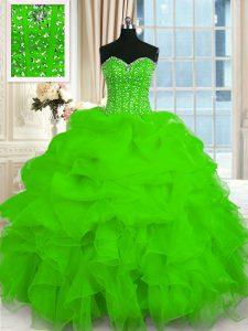 Organza Lace Up Sweetheart Sleeveless Floor Length 15th Birthday Dress Beading and Ruffles
