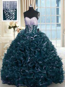 Sweetheart Sleeveless Sweet 16 Dresses With Brush Train Beading and Ruffles Teal Organza