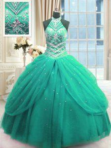 Custom Made Tulle Sleeveless Floor Length Sweet 16 Dress and Beading