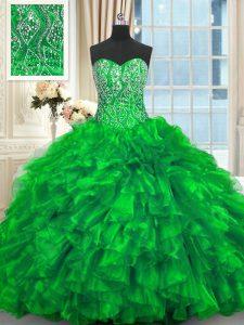 Chic Sweetheart Sleeveless Brush Train Lace Up Sweet 16 Dress Green Organza