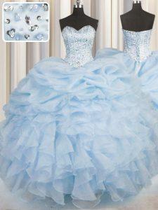 Floor Length Light Blue Quinceanera Dress Organza Sleeveless Beading and Ruffles