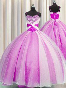 Sequins Spaghetti Straps Sleeveless Lace Up 15th Birthday Dress Fuchsia Organza