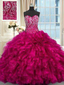 Hot Sale Beading and Ruffles 15 Quinceanera Dress Fuchsia Lace Up Sleeveless Brush Train