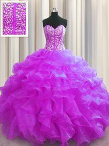 Visible Boning Floor Length Fuchsia Vestidos de Quinceanera Sweetheart Sleeveless Lace Up