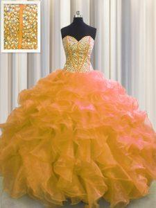 Dramatic Visible Boning Orange Sweetheart Lace Up Beading and Ruffles Sweet 16 Dresses Sleeveless