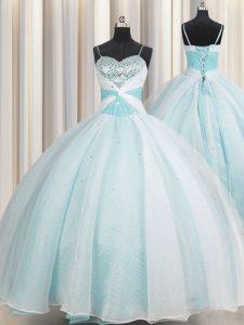 Exceptional Ball Gowns Vestidos de Quinceanera Aqua Blue Spaghetti Straps Organza Sleeveless Floor Length Lace Up
