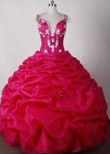 Straps Hot Pink Ruffled Beaded Sweet 16 Dresses in Organza and Taffeta