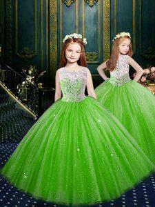 Custom Design Scoop Clasp Handle Glitz Pageant Dress Appliques Sleeveless Floor Length