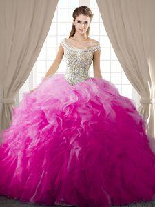 Pretty Fuchsia Lace Up Off The Shoulder Beading and Ruffles Sweet 16 Dress Organza Sleeveless