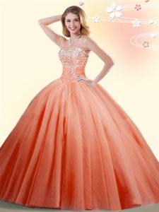 Sweetheart Sleeveless Tulle 15th Birthday Dress Beading Lace Up