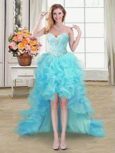 Sweetheart Sleeveless Organza Evening Dress Beading and Ruffles Lace Up