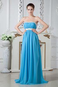Sexy Aqua Blue Strapless Chiffon Bridesmaid Long Dress with Beaded Waist