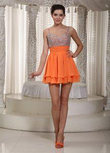 Orange Mini-length Layered Chiffon Straps Prom Dresses for Girls with Beading