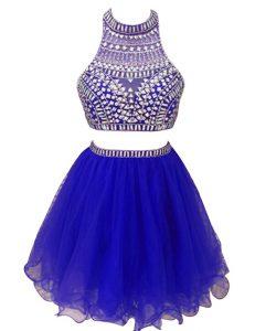 Chiffon High-neck Sleeveless Zipper Beading Prom Evening Gown in Royal Blue