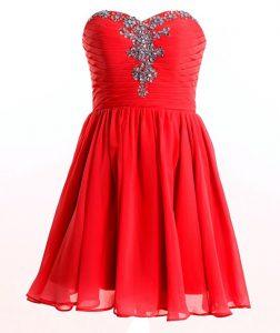 High Quality Red Empire Sweetheart Sleeveless Chiffon Mini Length Lace Up Beading Prom Dresses