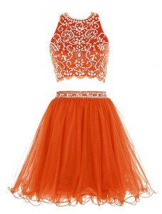 Hot Selling Empire Prom Party Dress Orange Scoop Chiffon Sleeveless Mini Length Backless
