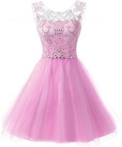 Scoop Lilac Zipper Dress for Prom Beading Sleeveless Knee Length