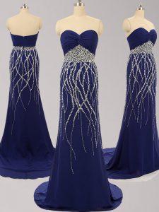 Wonderful Navy Blue Sleeveless Chiffon Brush Train Zipper Prom Dress for Prom