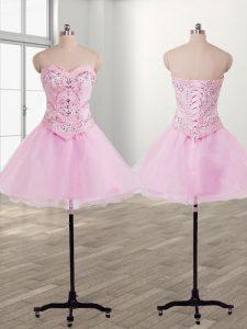 Cute Baby Pink Organza Lace Up Sweetheart Sleeveless Mini Length Evening Dress Beading
