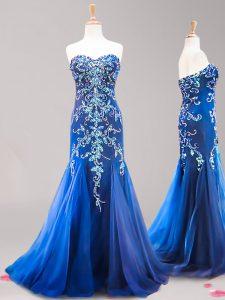 Fancy Brush Train Mermaid Prom Dress Royal Blue Sweetheart Tulle Sleeveless Zipper