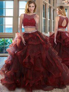 Burgundy Scoop Backless Beading Sweet 16 Dress Sleeveless