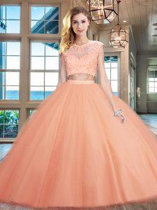 Peach Tulle Zipper Scoop Cap Sleeves Floor Length Vestidos de Quinceanera Beading and Appliques