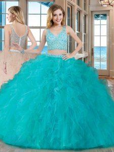 Luxury Beading and Ruffles Vestidos de Quinceanera Teal Zipper Sleeveless Floor Length