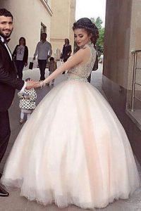 Sophisticated White Zipper Prom Evening Gown Beading Sleeveless Floor Length