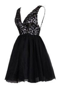 Black V-neck Backless Sequins Prom Dresses Sleeveless