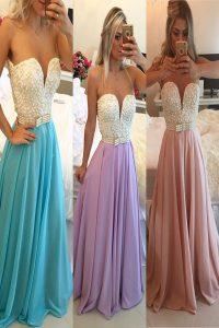 Attractive Blue Sleeveless Floor Length Beading Clasp Handle Homecoming Dress