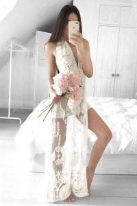 White Column/Sheath Lace Prom Party Dress Zipper Tulle Sleeveless Floor Length