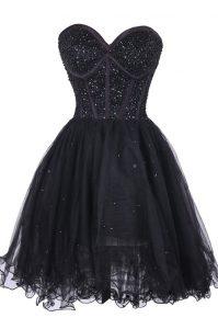 Dynamic Black Criss Cross Evening Dress Sequins Sleeveless Knee Length