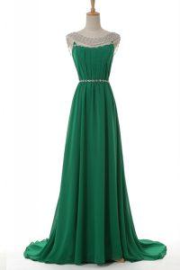 Green Side Zipper Scoop Belt Prom Gown Elastic Woven Satin Sleeveless Sweep Train