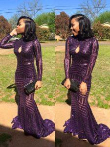 Mermaid Sequins Homecoming Dress Eggplant Purple Zipper Long Sleeves Sweep Train